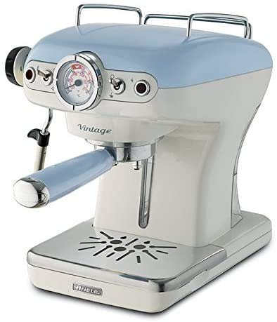 Ariete 1389/15 Retro Style Espresso Machine and Built-in Milk Frother, Barista Coffee Maker Perfect for Americanos, Lattes and Cappuccinos, Filter Holder for Powder or Pods, Blue