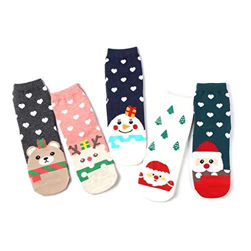 Planuuik 5 paar kerstvrouwen schattige cartoon Santa sneeuwpop afdrukken Crew sok Nieuwjaar cadeau
