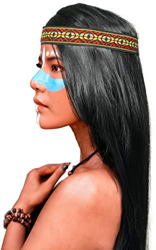 Balinco Indianer Perücke mit glatten Langen Haaren in schwarz + passendes Kopfband für Damen & Herren Fasching Karneval