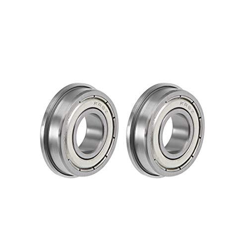"uxcell FR8ZZ Flange Ball Bearing 1/2""x1-1/8""x5/16"" Shielded Chrome Bearings 2pcs"