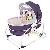5 In 1 Baby Bequemer Elektrischer TüRsteher Stuhl, Baby Schaukelbett, Automatische Schaukel & TüRsteher Mit Spielzeug- Und Musikvibrationsbox, Kann Sitzen Kann Korb Heben,Pink