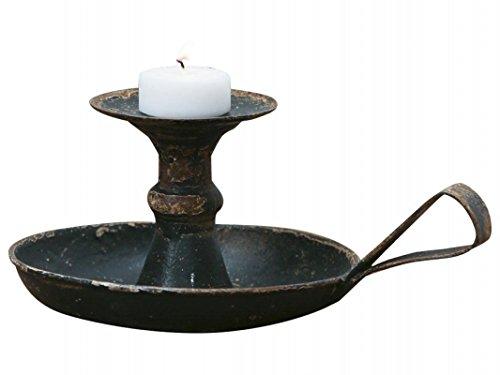 Chic Antique Kerzenhalter Kerzenständer Kammerleuchter mit Henkel französisch Antik Schwarz