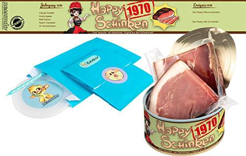Happy Schinken | 200 Gramm Schwarzwälder Schinken in der Dose | Personalisiert mit Wunsch- Geburtsjahr und Namen | Geburtstagsgeschenk | Geschenk | Geschenkidee (1970)
