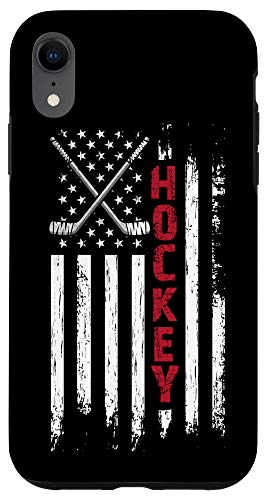 iPhone XR American Flag Hockey USA Patriotic Perfect Birthday Gift Case