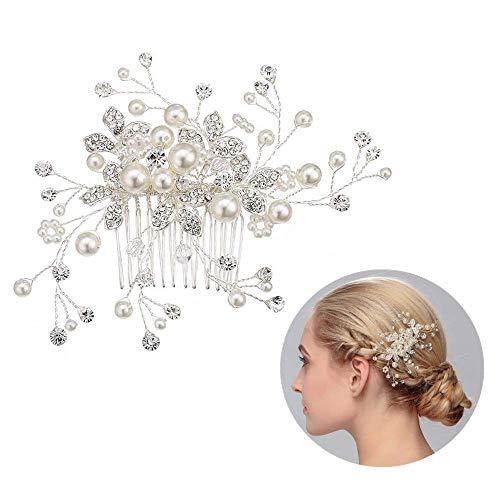 Haarschmuck hochzeit, Elegante Damen Haarkamm mit Perle und Kristall Strass, Haarnadeln hochzeit, Braut Haarschmuck, kopfschmuck für Frauen und Mädchen