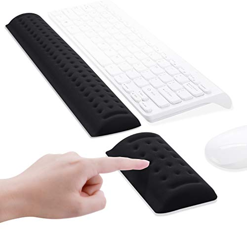 Keyboard Mouse Wrist Rest, ICETEK Keyboard Wrist Support Mouse Mat Set Memory Foam Ergonomic Wrist Pad Wrist Cushion Anti-Slip for Gaming Computer Notebook Home Office