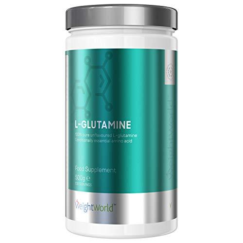 L-Glutamina Proteína Pura en Polvo Micronizada Dosis Alta 5000mg por Dosis | Suplemento deportivo para Crecimiento y Aumento de Masa Muscular, Aminoácidos Esenciales, Vegano, Sin Sabor, WeightWorld