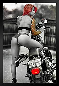 Ride Me by Daveed Benito Hot Girl Motorcycle Black Wood Framed Poster 14x20