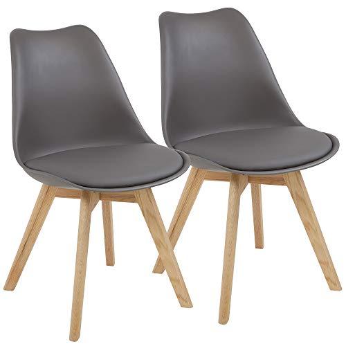ALBATROS Esszimmerstühle AARHUS 2-er Set, Grau mit Beinen aus Massiv-Holz, Eiche, skandinavisches Retro-Design