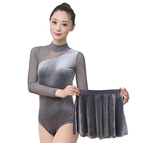 [シャンディニー] レオタード 大人 セクシー 長袖 バレエ ダンス 新体操 競技用 スカート付き グレー XLサイズ