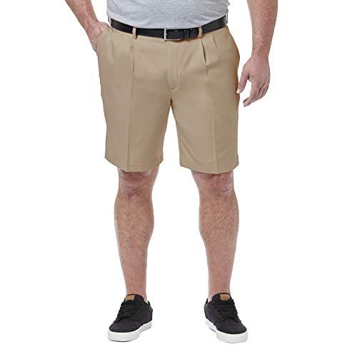 Haggar Men's Big & Tall Cool 18 Pro Pleat Front Short, Khaki, 46