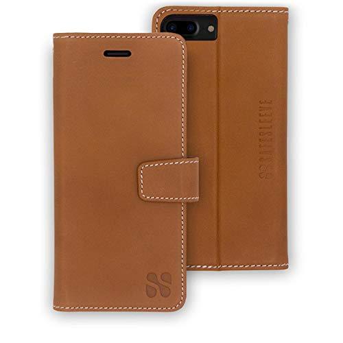 SafeSleeve EMF Protection Anti Radiation iPhone Case: iPhone 8 Plus, iPhone 7 Plus and iPhone 6 Plus RFID EMF Blocking Wallet Cell Phone Case (Genuine Leather)