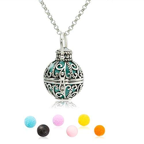 ZARABE Essential Oil Diffuser Necklace Lava Stone Diffuser Locket Perfume Sweater Jewelry,Anti-Silver