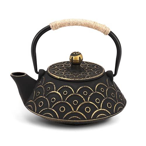VUDECO Japanese Teapot Cast Iron Tea Kettle with Infuser Japanese Tea Set Tea Pots with Infusers for Loose Tea Kettle Set Cast Iron Tea Kettle Stove Top Safe- Black with Gold Wave Pattern 30oz / 900ml