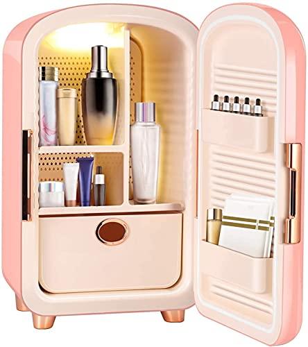 Mini refrigerador personal portátil, refrigerador de maquillaje de 12 litros con 5 espacios de almacenamiento grande, belleza portátil Mini refrigerador personal para dormitorio, oficina, dormitorio,