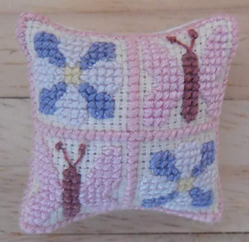 1/12. Skala Puppen Haus Hand bestickt 4 Panel Schmetterling & Blume Design Kissen