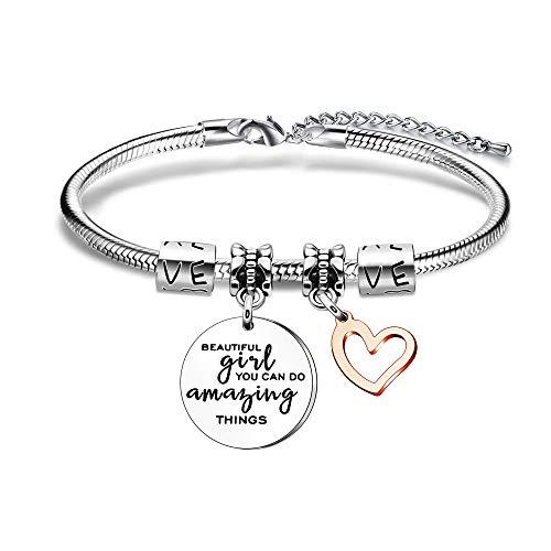 Women Girls Gift, Beautiful Girl You Can Do Amazing Things Pendant Bracelet...