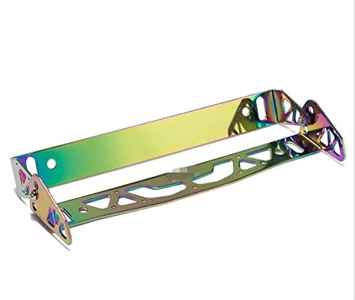without EG-QCPJS, 1pc Car-Styling Aluminum Adjustable Racing License Plate Frame Tag Holder For BMW For Ford For Honda Ect (Color : Neochrome)