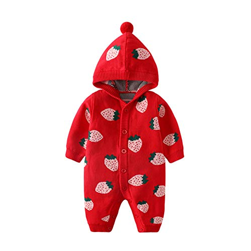 Baby Kapuze Strampler Pullover Baumwolle Jumpsuit Langarm Strick Overall Erdbeer Cartoon Outfits Kleidung für Mädchen 6-9 Monate Rot