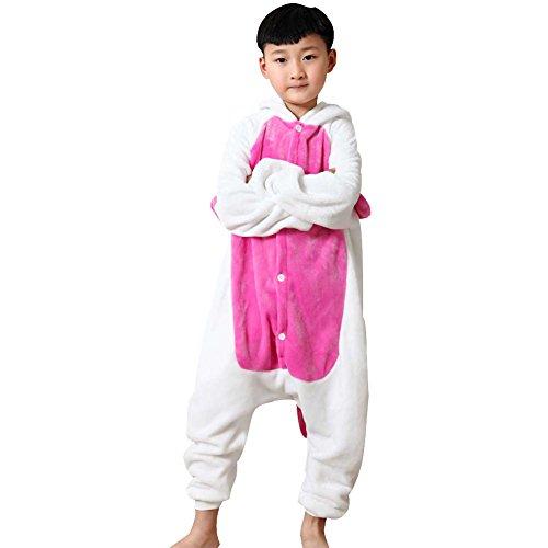 Free Fisher Kinder Jungen/Mädchen Cosplay Kostüm Jumpsuit Overall Schlafanzug Pyjama, Rosa Einhorn, Gr. 128/134( Herstellergröße: 130)