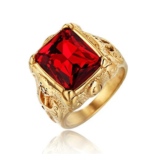 Lafeil Gold Ring Männer Gothic Ring Männer Axt Gold Gr. 62 (19.7) 20mm Breit 11G Rot Gothicring
