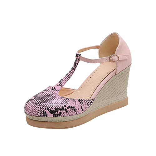SUGEER Snakeskin Cutout Wedge Sandals Fashion Snake Grain Wedges Round Toe Non-slip Buckle Sandals Women Casual Shoes