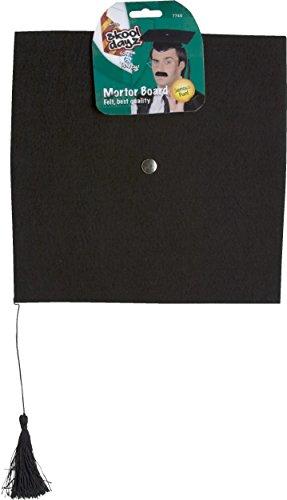 Smiffy's-7748 Birrete de fieltro, con borla, Deluxe, color negro, Tamaño único (7748) , color/modelo surtido