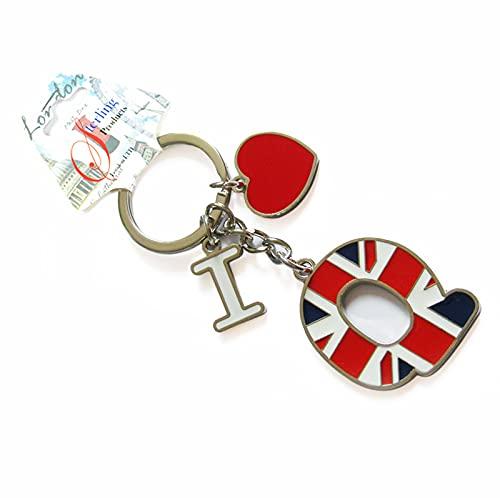 Sterling Product Keyring Llavero Alfabeto (3 Unidades), Acero Inoxidable, Letra Q Bandera británica, Personalised Keychain
