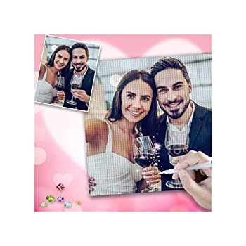 Custom Diamond Painting Personalized Picture 5D Diamond Painting Kits for Adults Make Your Own Photo DIY Cute Pink Gem Art Gifts for Women Couples Full Drill Round 11.8x11.8 inch