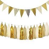 Dusenly Vintage Dreieck Fahnen Gold Glitter Wimpel Bunting Banner und Seidenpapier Quasten Girlande Set für Hochzeit, Brautdusche und Geburtstagsfeier Dekorationen Lieferungen (Gold) -
