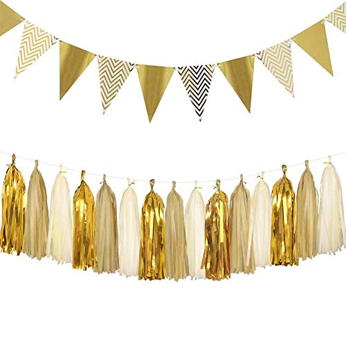 Dusenly Vintage Triangle Flags Gold Glitter Pennant Bunting Banner and Tissue Paper Tassels Garland Set for Wedding, Bridal Shower and Birthday Party Decorations Supplies (Gold)
