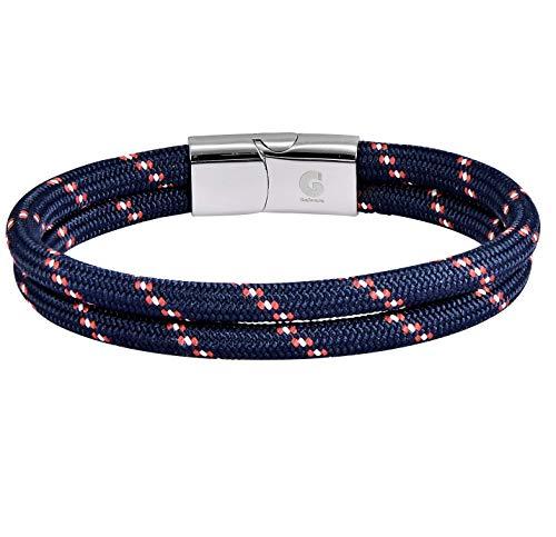 Galeara design Pulsera de Cuerda - Nautica Trenzada para Hombre y Mujer (Azul - Rojo, 195)