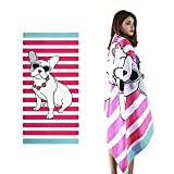 VNICGFOMGT Beach Towel Oversized Thicker Cotton Pool Towels for Women Adults Swim, Large Highly Absorbent,Pug,63