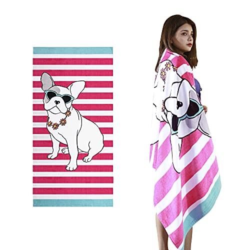 VNICGFOMGT Beach Towel Oversized Thicker Cotton Pool Towels for Women Adults Swim, Large Highly Absorbent,Pug,63'x32'