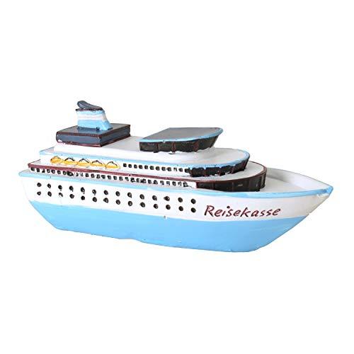 Preisvergleich Produktbild Kleine Spardose Reisekasse 15 cm lang Schiff Kreuzfahrt Schifffahrt Reisegeld Sparbüchse Geldgeschenk Urlaub