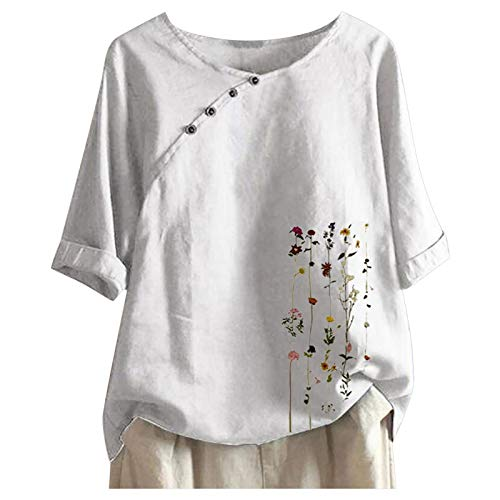 Solid Color Women's Crewneck Short Sleeve Tops Classic Cotton Linen T-Shirt for Women Summer Fashion Floral Print Blause Tee Plus Size Loose Fit Tshirt Tops for Teen Girls Women Gifts White