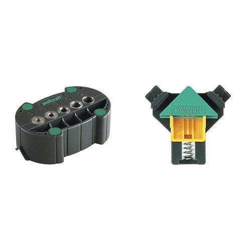 Wolfcraft 4685000 - Accumobil - guía para taladrar móvil Ø 4, 5, 6, 8, 10 mm + Mordaza Angulo Doble Ajust. 3051000
