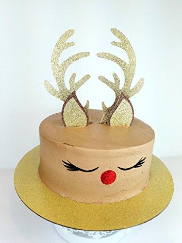 CMS Design Studio Handmade Reindeer Christmas Cake Topper Decoration - Double Sided Glitter Stock