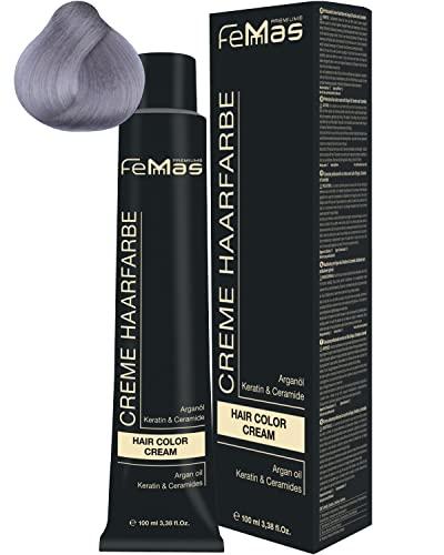 FemMas Haarfarbe Pure&Mix Silber I professionelle Creme Haarfarbe in intensiven Farben für leuchtende und kreative Hairstyles I pflegendes Arganöl, Keratin & Ceramide I dauerhafte Haarfärbung, 100 ml