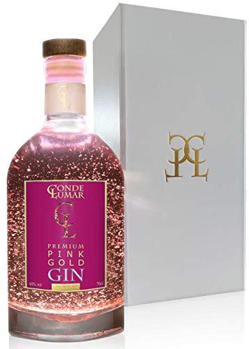 Gin Premium Geschenkset Pink 23-K Goldfolie - Strawberry Fruchtig Rose Gin Geschenk - Natürliche Botanicals und Gewürze - Gin Tonic Geschenkidee - Geschenkverpackung & 23k Gold Zertifikat