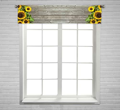 ABPHQTO Autumn Sunflowers Wooden Board Window Curtain Valance Rod Pocket Size 54x12 Inch