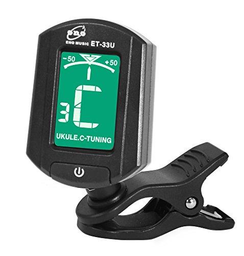 Eno ET 33U Clip-On - Afinador electrónico para ukelele, color negro