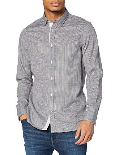 Tommy Hilfiger Slim Jaspe Micro Check Shirt Camicia, Black/White/Primary Red, L Uomo