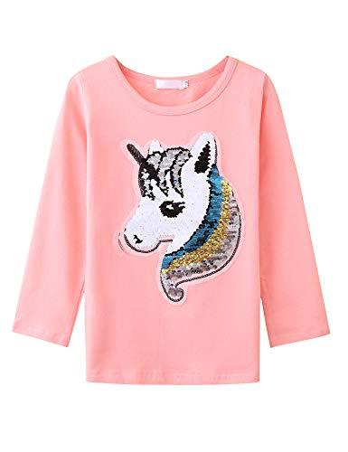 Bricnat Mädchen T-Shirt Wende Pailletten Einhorn Kurzarm Tunika Bluse Rundhals Top Casual Sommer (Langarm Rosa, 130cm 7-8Y)
