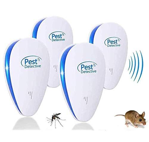 MATEHOM 2021 Nuevo Repelente Ultrasonico de Plagas, Repelente Mosquitos Insectos para Interiores Anti Cucarachas, Moscas, Mosquitos, Ratones, Inofensivo para Mascotas y Humanos (4 Pack)