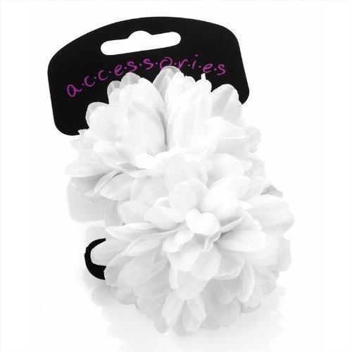 - Paar elastische Haargummis aus Schaumstoff für Haar mit Blume weiß