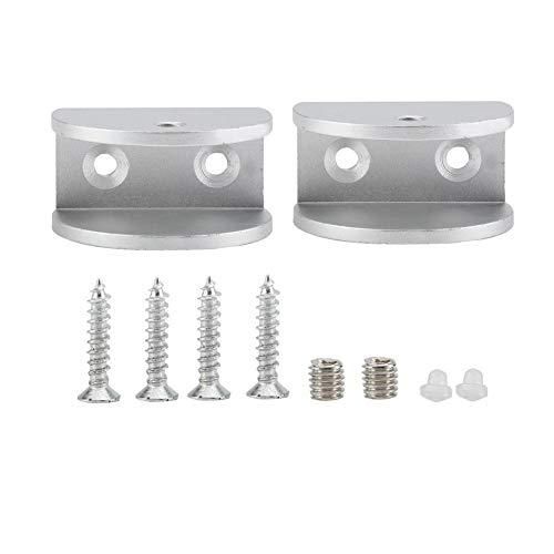 2 abrazaderas de aluminio cristal semicirculares para soporte espejo baño protección contra...