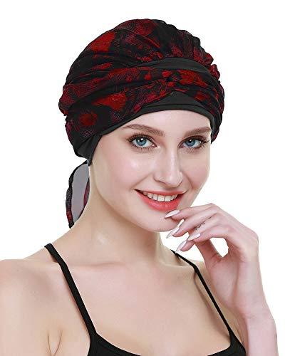 FocusCare Headwraps pour la Chimio Femmes Cancer Patients Cadeaux pac Foulard Perte de Cheveux,Phoenix rouge,Taille unique