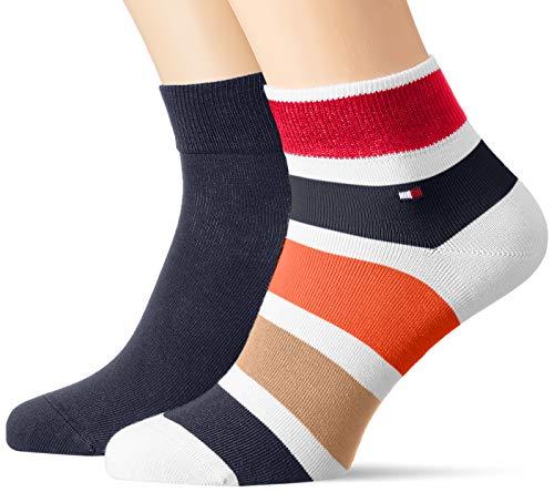 Tommy Hilfiger Herren TH MEN QUARTER 2P COLORBLOCK STRIPE Socken, Mehrfarbig (Khaki 006), (Herstellergröße: 43/46) (2er Pack)