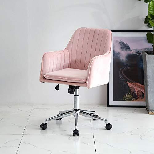 KEEPREAPER Bürostuhl Rosa Samt Ergonomisch Schreibtischstuhl Drehstuhl mit Rädern Verstellbarer Rotationsheber, Geeignet für das Haus Büro (Rosa 2) (Rosa 2)